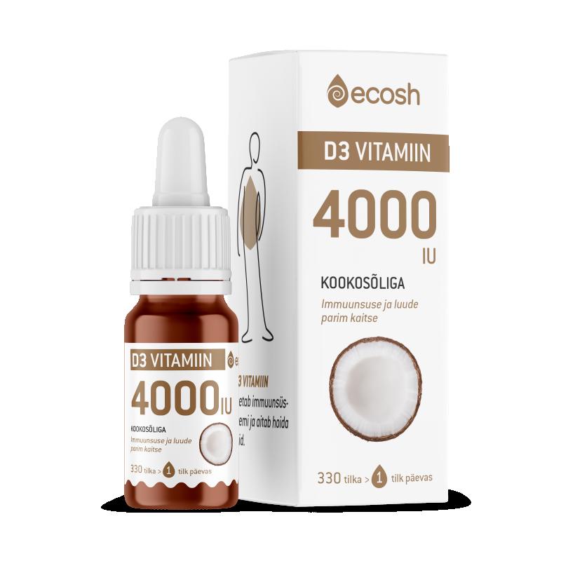 Ecosh vitamiin D3, 4000IU, kookosõliga, päike, elujõud, immuunsus - 10ml - toidulisand
