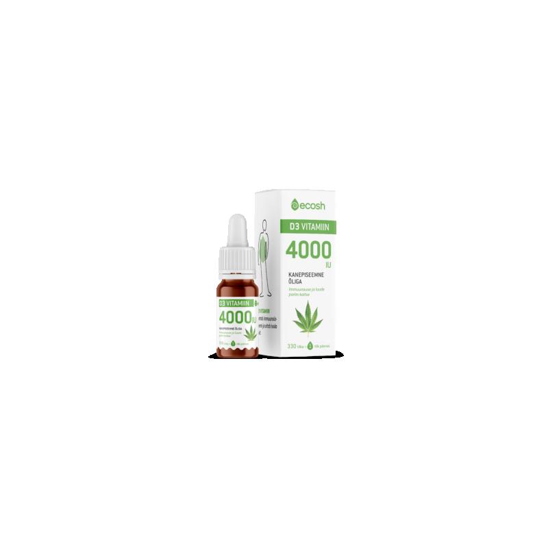 Ecosh vitamiin D3, 4000IU, perele, kanepiõliga, päike, elujõud, immuunsus - 10 ml - toidulisand