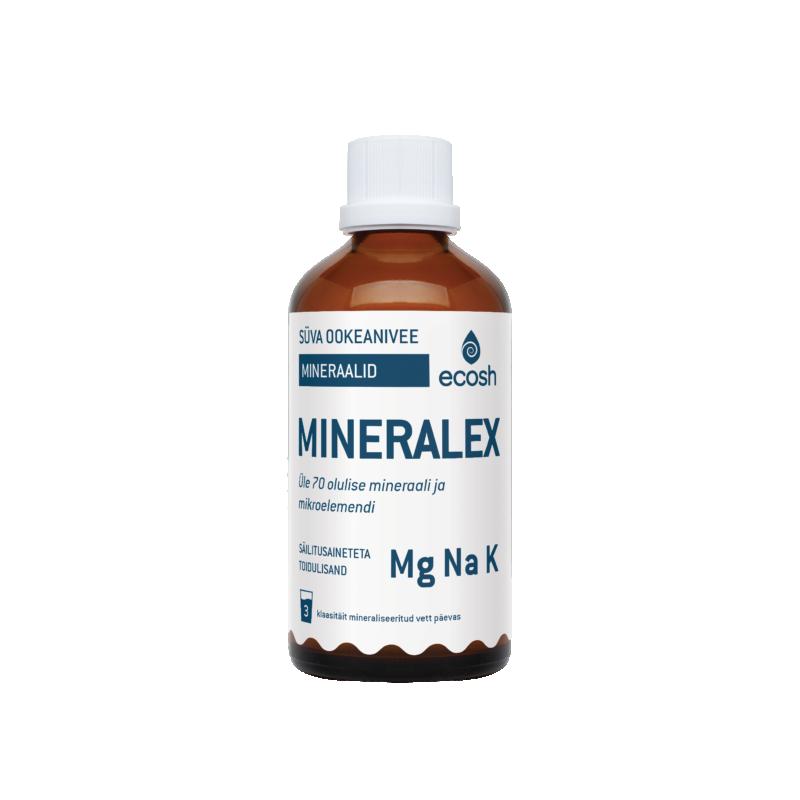 Ecosh Mineralex - süvaookeanivee mineraalid, elundid, koed, luud, aitab hoida aluselisena - 100ml - toidulisand