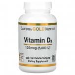 California Gold Nutrition Vitamin D3 5000IU - D3 vitamiin, luud, hambad, immuunsus - 360 tbl - toidulisand