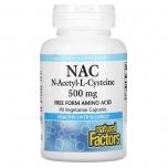 Natural Factors NAC 500mg - N-atsetüül, detox, raku puhastus, glutatioon, keemiaravi, covid, koormus - 90tbl - toidulisand