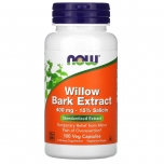 Now Foods Willow Bark Extract - valge pajukoore ekstrakt, pajukooreekstrakt, ajutine leevendus ülekoormusest tingitud valule - 100tbl - toidulisand