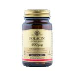 Solgar Folacin 400ug - foolhape, vesilahustuv B grupi vitamiin, mis osaleb valkude, rasvade ning süsivesikute ainevahetuses - 100tbl - toidulisand