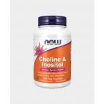 Now Foods Choline & Inositol - Koliin & Inositool 500mg, vitamiin B 4, ainevahetus, aju, mälu - 100tbl - toidulisand