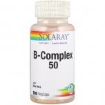 Solaray B Complex 50 - B vitamiin 50 kompleks Aloe Veraga, veresooned, närvid, väsimus, õppimisvõime, nahk - 100tbl - toidulisand