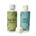Living Minerals komplekt: NACLO2 suuloputusvahend ja HCL juukseloputusvahend 2x100ml.
